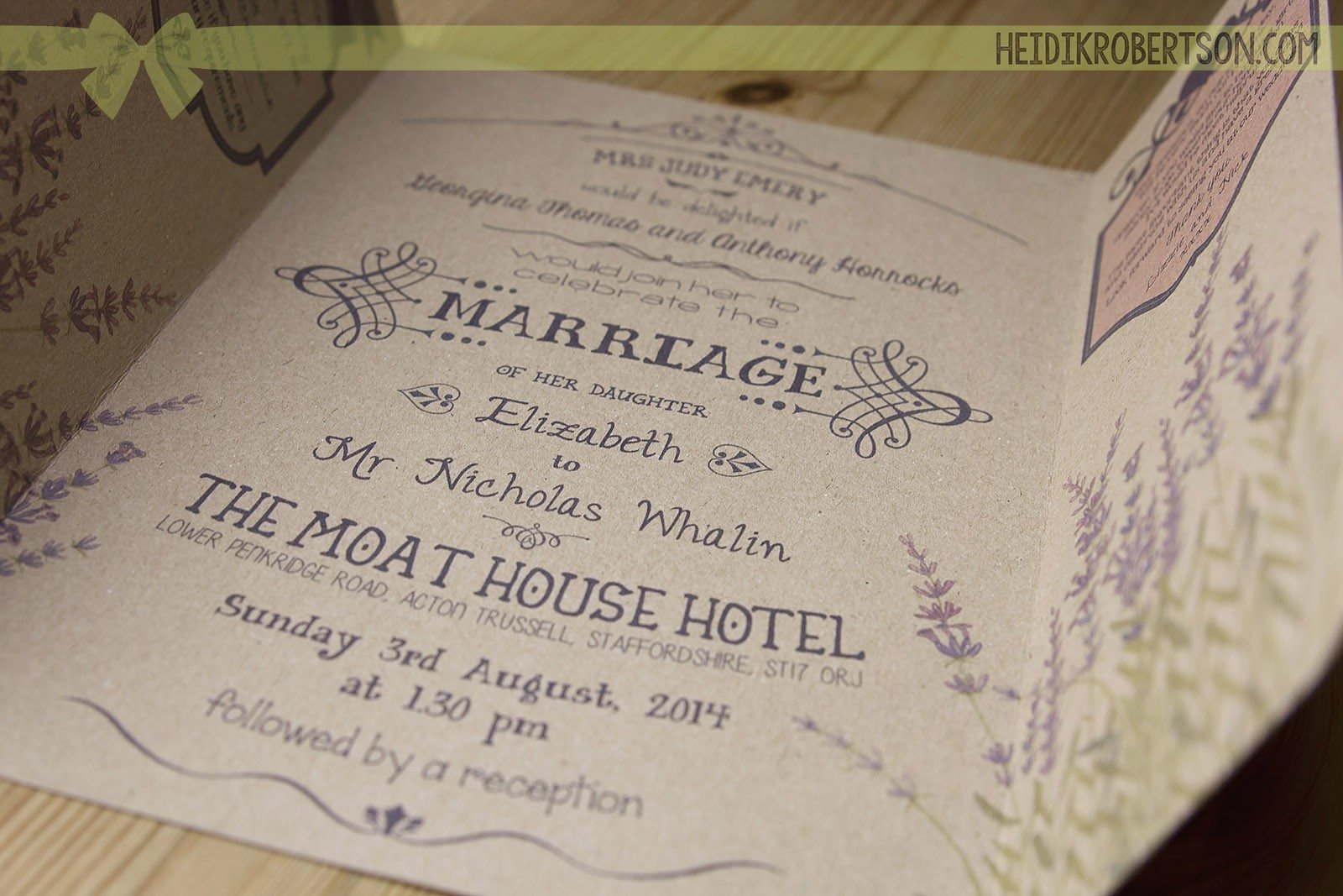vintage style lavender wedding invitations on recycled card love all those fonts - Lavender Wedding Invitations